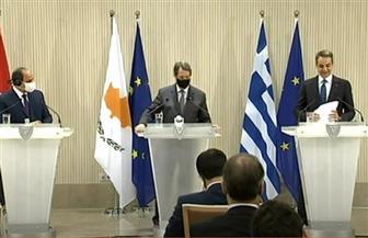 تفاصيل جلسة قمة آلية التعاون الثلاثي المغلقة بين الرئيس السيسي ونظيره القبرصي ورئيس وزراء اليونان