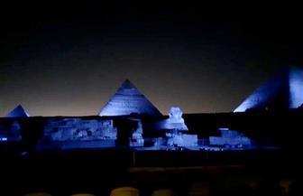 إضاءة أهرامات الجيزة وأبو الهول باللون الأزرق احتفالا بذكرى إنشاء الأمم المتحدة