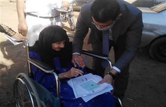 مستشار يساعد مسنة ذات الـ80 عاما على الإدلاء بصوتها في بني سويف | صور