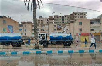 مدينة مرسى مطروح: فرق لإزالة مياه الأمطار بالطريق الدولي والشوارع والميادين   صور