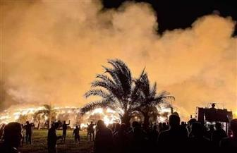 حريق هائل في مخزن لتجميع قش الأرز بقرية تيرة في الدقهلية | صور