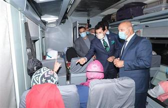 وزيرا الشباب والرياضة والنقل يودعان المشاركين في الفوج الأول من قطار الشباب بمحطة مصر| صور