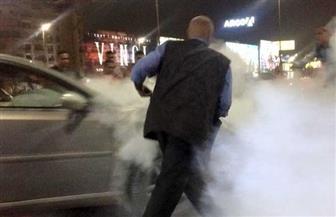 تفحم سيارة ملاكي أعلى كوبري أكتوبر