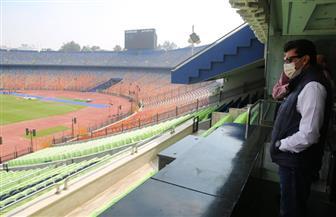 قبل النهائي الإفريقي.. وزير الشباب والرياضة يقوم بجولة بإستاد القاهرة الدولي | صور