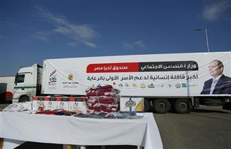 وصول 18 سيارة محملة بالمواد الغذائية والملابس وأجهزة غسيل كلوي إلى دمياط   صور