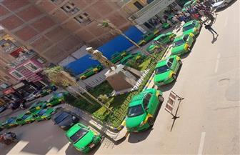 إضراب سائقي التاكسي بشبين الكوم اعتراضا على عمل التوك توك داخل المدينة | صور