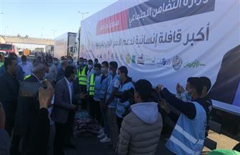 وصول شاحنات أكبر قافلة إنسانية لدعم الأسر الأولى بالرعاية إلى قنا | صور