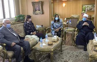 """وزيرة الهجرة تصل ديوان محافظة دمياط لحضور ندوة """"الأوقاف"""" عن مخاطر الهجرة غير الشرعية"""