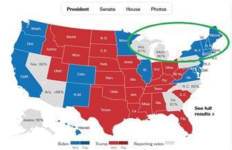 سيناريو محتمل: ولايات الحائط الأزرق قد تمنح بايدن الفوز برئاسة أمريكا دون الحاجة لبنسلفانيا