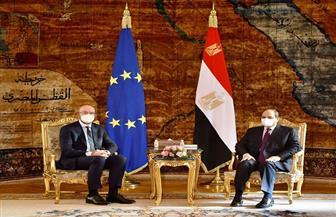 الرئيس السيسي يستقبل رئيس المجلس الأوروبي.. ويؤكد: القيم الدينية السامية لا علاقة لها بأعمال التطرف