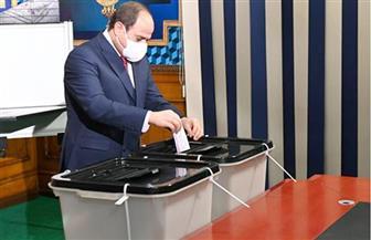 الرئيس السيسي يدلي بصوته في انتخابات «النواب»