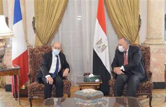 وزير الخارجية يستقبل نظيره الفرنسي بقصر التحرير | صور