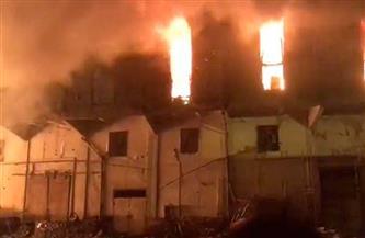 انهيار أجزاء من مخزن «روما» بميناء الإسكندرية بسبب الحريق | صور