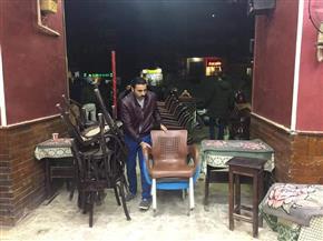 تشميع مقاهي تقدم الشيشة للمواطنين بالعمرانية| صور