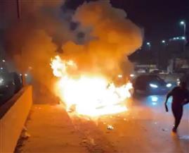 اشتعال النيران بسيارة اليوتيوبر أحمد حسن ونجاته وأسرته| صور