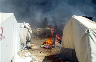 إضرام النيران في مخيم للاجئين السوريين في لبنان