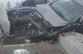 إصابة ثلاثة أشخاص نتيجة تصادم خمس سيارات بطريق الإسماعيلية -القاهرة الصحراوي| صور