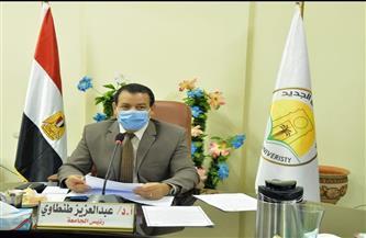 رئيس جامعة الوادي الجديد يشدد على الإجراءات الاحترازية وتطبيق التعليم الهجين | صور