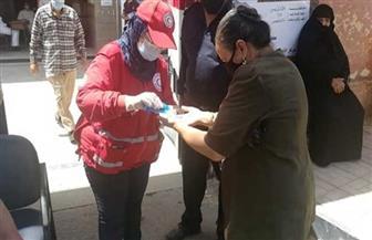 الهلال-الأحمر-المصري-يستقبل-الناخبين-أمام-اللجان-لتعقيمهم-|-فيديو