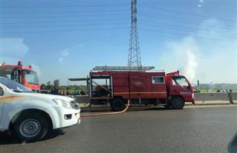 اشتعال النيران بسيارة محملة بالهيدروجين بطريق بنها الحر  صور