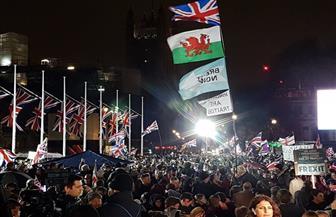 آلاف البريطانيين يحتشدون أمام مبنى البرلمان للاحتفال بالخروج من الاتحاد الأوروبي