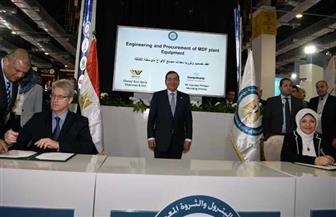 وزير البترول يشهد توقيع عقد إنشاء مشروع إنتاج الألواح الخشبية من قش الأرز | صور