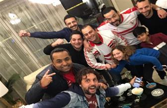 شيكو وهشام ماجد يحتفلان مع أمير مرتضى منصور بفوز الزمالك على الترجى