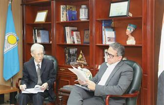 """العناني يستقبل سفير دولة اليابان بالقاهرة ومدير الوكالة اليابانية للتعاون الدولي """"الجايكا"""" بالشرق الأوسط"""