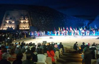وزيرة الثقافة تشهد احتفالية ليلة تعامد الشمس بمعبد أبوسمبل | صور