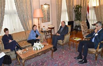 تفاصيل لقاء وزير الخارجية والمبعوثة الأوروبية لعملية السلام في الشرق الأوسط