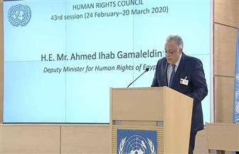 مساعد وزير الخارجية لحقوق الإنسان يلقي كلمة مصر أمام مجلس حقوق الإنسان بجنيف | صور