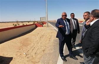 محافظ الوادي الجديد يتفقد أعمال تطوير طريق مطار الخارجة | صور