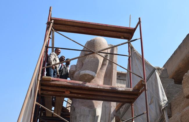 أعمال ترميم تمثال رمسيس