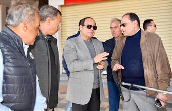 الرئيس السيسي يتفقد أعمال التطوير بمنطقة عزبة الهجانة بطريق السويس | صور