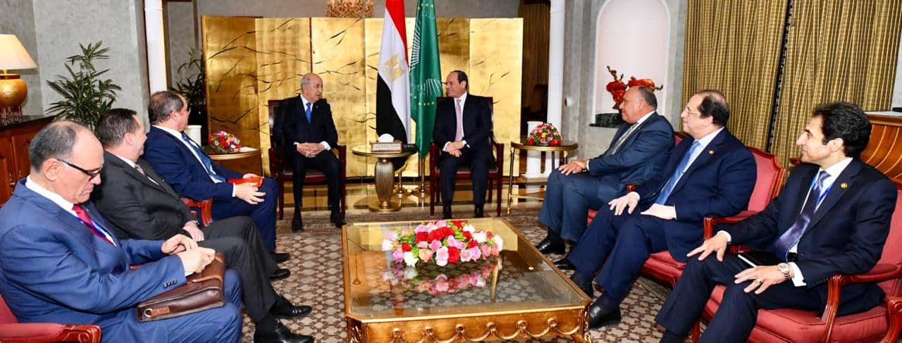 الرئيس عبد الفتاح السيسي مع الرئيس عبد المجيد تبون رئيس الجمهورية الجزائرية