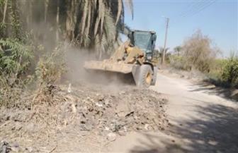 رفع 20 طن مخلفات في حملة لتوسعة الطرق وتطهير الترع غرب الأقصر | صور