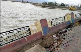 انهيار بسور كورنيش السويس بسبب الأمطار
