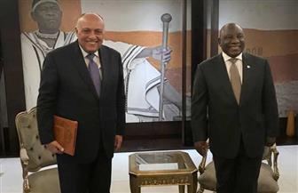 في ثاني محطة بجولته الإفريقية.. وزير الخارجية يلتقي برئيس جنوب إفريقيا