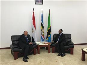 تفاصيل لقاء سامح شكري ووزير خارجية تنزانيا.. وتسليمه رسالة الرئيس السيسي حول ملف سد النهضة | صور