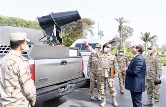 الرئيس السيسي يتفقد نماذج من أجهزة ومعدات التطهير والتعقيم التي تم تطويرها بالتعاون مع الإنتاج الحربي | صور