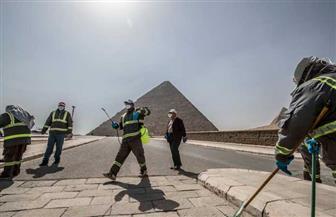 السياحة والآثار تبدأ أعمال تعقيم وتطهير منطقة آثار الهرم للوقاية من فيروس كورونا | صور