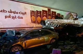 اللقطات الأولي لحادث دهس تريلا لسيارات بالطريق الإقليمي بالجيزة| فيديو