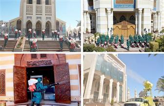 القوات المسلحة تقوم بتطهير وتعقيم مشيخة الأزهر ودار الإفتاء والكاتدرائية | صور