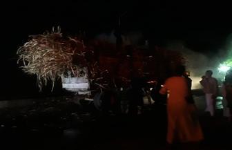 حريق في مقطورة محملة بقصب السكر في أسوان.. والدفع بسيارتي مطافي للسيطرة عليه