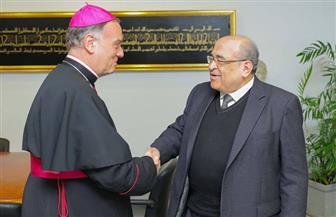 الدكتور مصطفى الفقي يصطحب سفير الفاتيكان في جولة داخل مكتبة الإسكندرية | صور