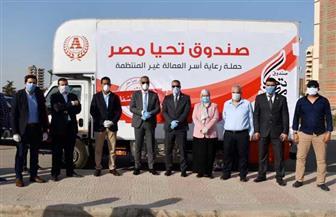"""""""تحيا مصر"""" تهدي أسر العمالة غير المنتظمة في الفيوم أطنانا من المواد الغذائية  صور"""