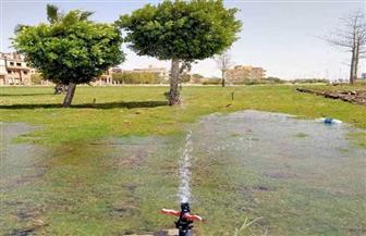 غمر حدائق شارع الجيش بالمنصورة بالمياه لمنع تواجد المواطنين | صور