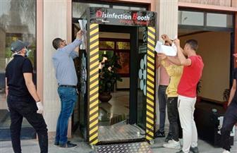 شاهين: كابينة لتعقيم الموظفين والمترددين على جهاز مدينة العاشر من رمضان للوقاية من كورونا | صور