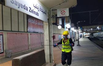 شركة المترو تواصل أعمال تطهير المحطات والقطارات بالخطوط الثلاثة | صور