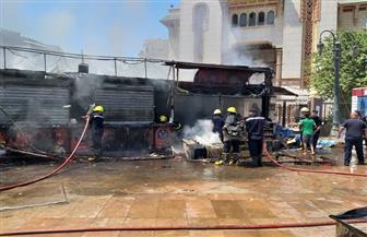 حريق في 3 أكشاك بجوار مسجد الفتح برمسيس | صور